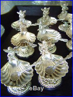 12 Individual Sheffield Victorian Style Silver Classical Footed Salt Cellar Sets