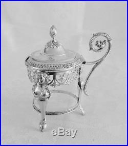 1800 Antique French Sterling Silver open Salt Cellars & Mustard pot Empire