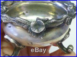 1861 LARGE ST Petersburg Russian Russia XX Maker Footed LILY FLOWER Salt Cellar