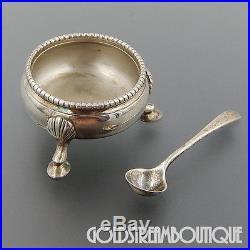 1864 John Wilmin Figg London Sterling Silver Salt Cellar & R. Richardson's Spoon