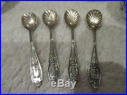 1880 french sterling silver 4 salt cellars, salt spoons Louis XVI st Gabert