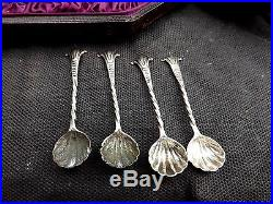 1885 Cased Matched Set 4 Neoclassical Master Salts W Spoons Chas Stuart Harris