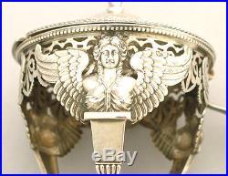 18c Antique French Sterling Silver Crystal Condiment Set Cruet Salt Cellars 950