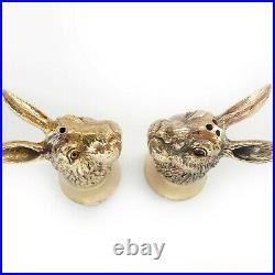 18ct Gold Plated Rabbit Hare Salt & Pepper Pot Cellar Shaker