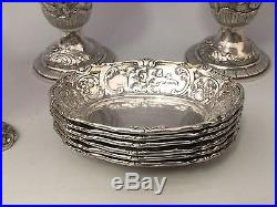 1905 Banquet Size Marshall Field Solid Sterling Silver Master Salts And Peppers