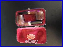 1927 Loewe & Co cased pair antique Ben Wade country briar silver pipes