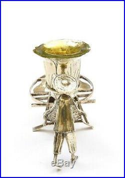 1930's Chinese Sterling Silver Salt Cellar Mini Figure Hand Held Water Cart Mk