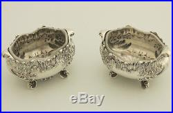 19c Antique French Sterling Silver Salt Cellars Pair Rococo Glass Inner Minerva