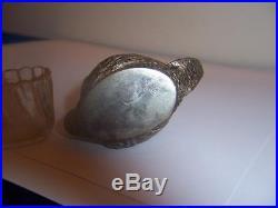 19c GERMAN 800 SILVER SWAN GOOSE MASTER SALT CELLAR WITH GLASS INSERT VINTAGE