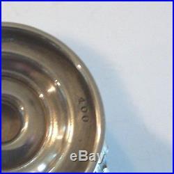 19th C. ANTIQUE STERLING SILVER SALT CELLAR, ELABORATE REPOUSSE DESIGN, 70 grams