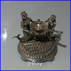 19th Century Antique Victorian Silver Plate Pair Figural Salts Circa 1890