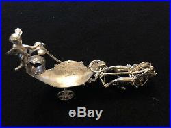 19th c German Silver Cherub riding two horse drawn carriage salt celler/spoon