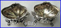 2 1902 Whiting Sterling Silver Footed Art Nouveau Ornate Open Salt Cellars
