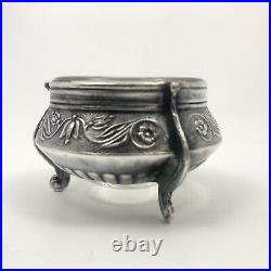 2 1950s Vintage Russian Soviet Ornate Melchior Salt Cellars Holder Glass I-OMMET