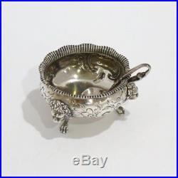 2.75 in Coin Silver Antique English Lion Decorated Salt Cellar with Spoon