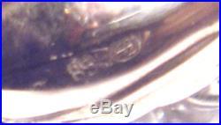 2 AB Albert Bodemer VICTORIAN 835 Silver SWAN CRYSTAL SALT CELLARS German