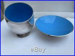 2 ANTON MICHELSEN DANISH 1950's STERLING SILVER & BLUE ENAMEL SALT CELLARS