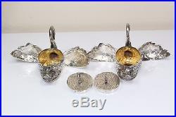 2 Antique 800 SILVER SWANS Trinket Box / Salt Cellar = Lids Wings OPEN! 4.8 Troy