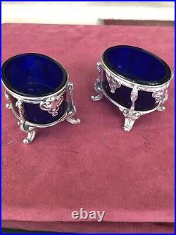 2 Antique French Sterling Silver & Cobalt Crystal Open Salt