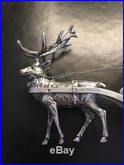 2 Antique Silver Hallmarked Salt Cellars Reindeer Putti Cherubs with Sleigh & Cart