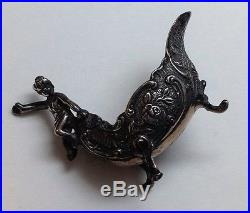 2 Antique Sterling Silver Cherub Boat Salt Cellars With Duck Head Spoons