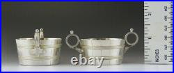 2 Antique Sterling Silver Gold Wash Basket or Barrel Form Salt Cellars