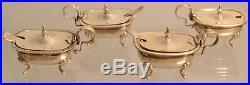 2 Pair Silver Salt Cellars With Spoons