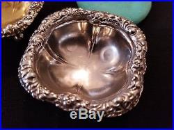 2 RARE Antique Vintage Tiffany Co Repousse Sterling Silver Salt Cellar SIGNED
