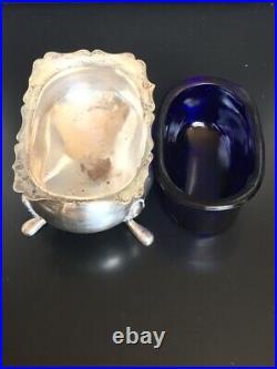2 Vintage Fisher 925 Sterling Silver Salt Cellars With Cobalt Blue Glass Inserts