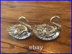 2 Vintage Large Crystal & Sterling Silver Master Salt Cellar Winged Swan Dish