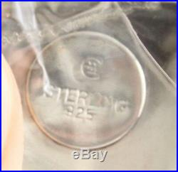 2 Vintage Sterling Silver MOP Sea Shell Salt Cellars & Spoon NIB Exclusive FP