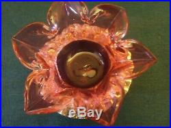 2 pc. Cranberry w Rigaree Salt Dip Cellar Victorian Glass Signed Silver Stand