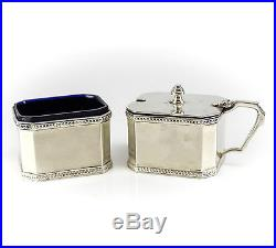 2pc Roberts & Dore Birmingham Sterling Silver Open Salt & Condiment Jar