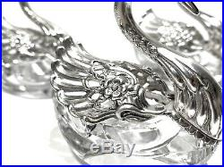3 Antique Vintage Sterling Silver Crystal Germany Swan Salt Cellars With Spoons