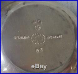 3 GEORG JENSEN ACORN Open Salts Cellars 62 Denmark Sterling Silver Green Enamel