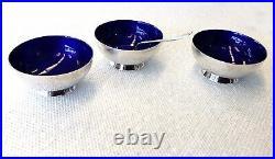 3 Pc Sterling Open Salt Dish/spoon Cobalt Enamel, Michelsen, Copenhagen, Denmark