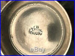 3 Piece Enameled Salt Set by Volmer Bahner, Norway, Boxed, Sterling Silver
