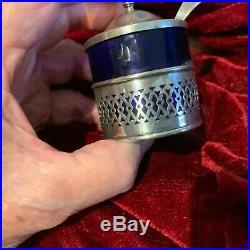3 Sterling Blue Cobalt Hallmarked Antique Salt Seller/Mustard with Spoon #2