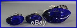 3 Vintage Swan Family Silver Cobalt Blue Crystal Glass Mustard Pot Salt Cellars