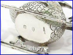 4 1/8 in European Silver Antique Dutch Swan Sleigh Salt Cellar