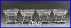 4 Antique 1799 English Sterling Silver & Original Cut Glass Salt Cellars