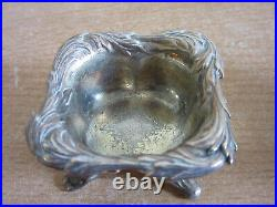 4 Antique 6848 1216 Tiffany & Co Sterling Silver. 925 footed salt cellars +spoon