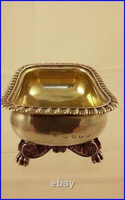 4 Antique Georgian English Silver Gilt Salt Cellars Eames Barnard, London 1818