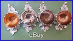 4 Antique Silver Plated Salt Cellar Cruets Acorn & Leaf