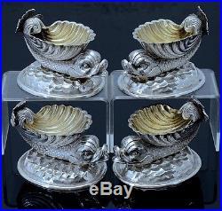 4 Fabulous Victorian Silver Plate Dolphin Shell Figural Open Salt Cellar Bowls