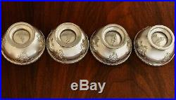 - (4) Tiffany Sterling Silver Footed Salt Cellars Pattern #19316a 1917 No Mono