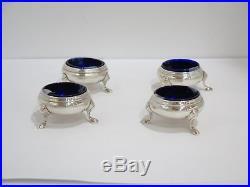 4 piece Sterling Silver Blue Glass Shrubsole Antique Round Salt Cellar Set