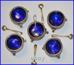 5 Vintage Fisher Sterling Silver Salt Cellars with 4 Cobalt Glass Inserts #480