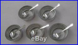 5 WHITING Sterling Silver Reticulated Salt Spoons & Cellars With Glass Inserts