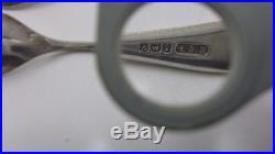 #50 -Pair Salt Cellars Three Handles and Crystal spoons English Sterling Silver